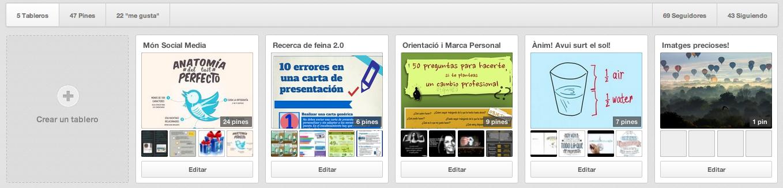 Ejemplo de la distribución de tableros en Pinterest. Pinterest, búsqueda de empleo y marca personal. Cómo utilizar esta red para potenciar nuestra carrera profesional. Post de @ARiVigueras
